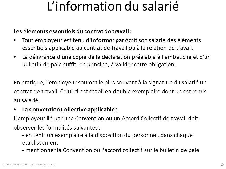 L'information du salarié