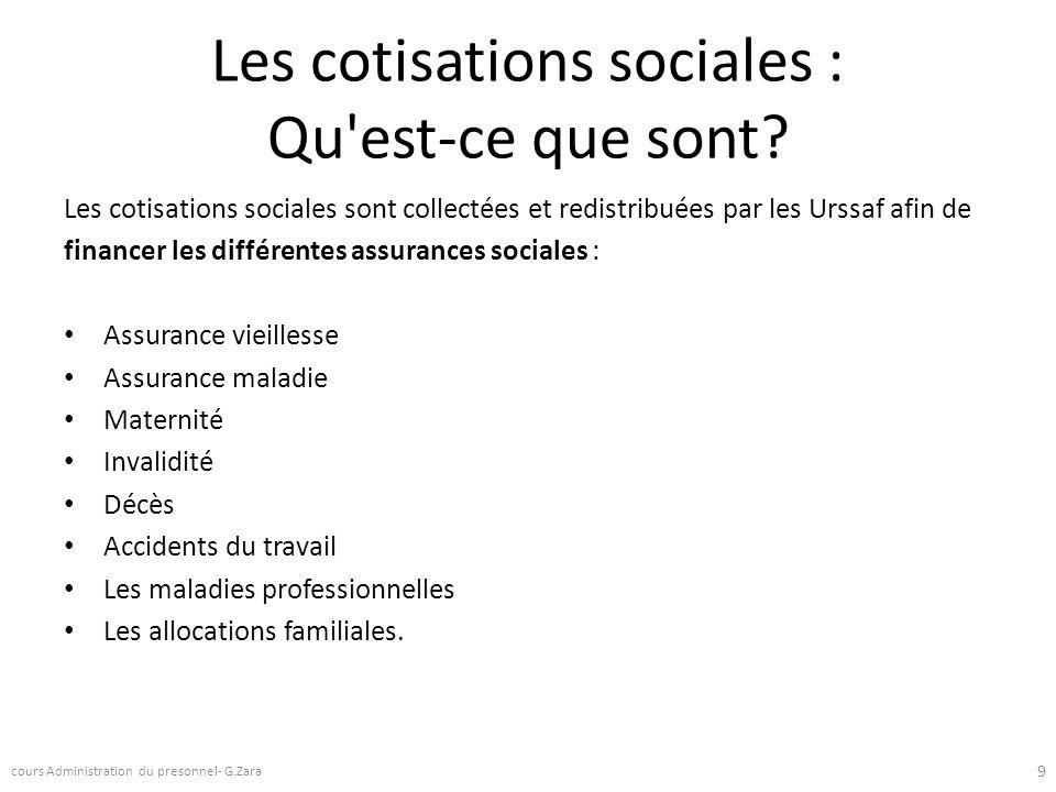Les cotisations sociales : Qu est-ce que sont