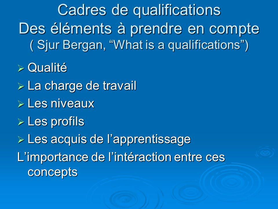 Cadres de qualifications Des éléments à prendre en compte ( Sjur Bergan, What is a qualifications )