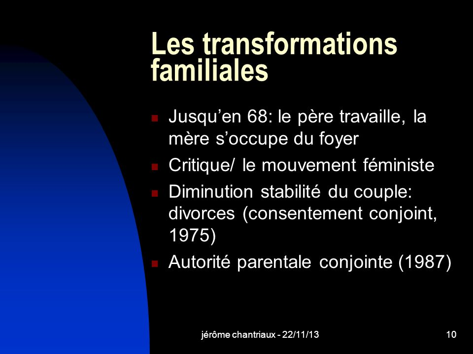 Les transformations familiales