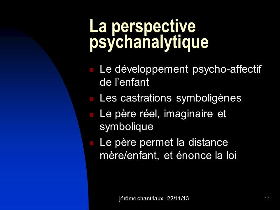 La perspective psychanalytique