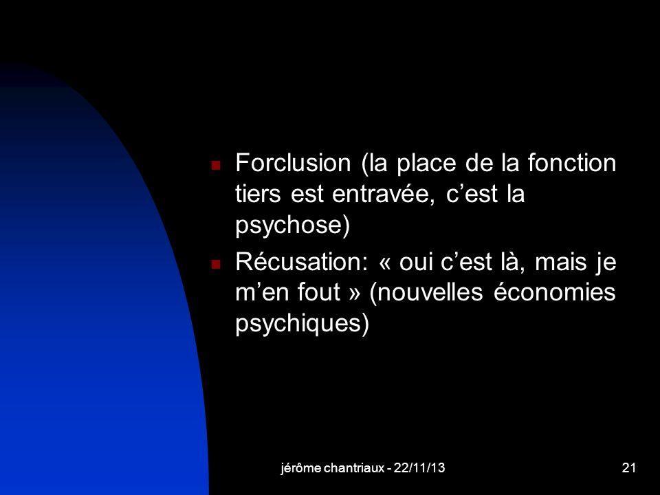 Forclusion (la place de la fonction tiers est entravée, c'est la psychose)
