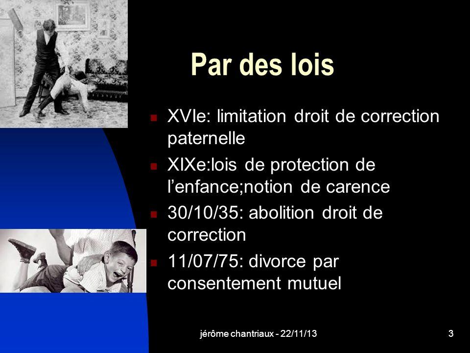 Par des lois XVIe: limitation droit de correction paternelle