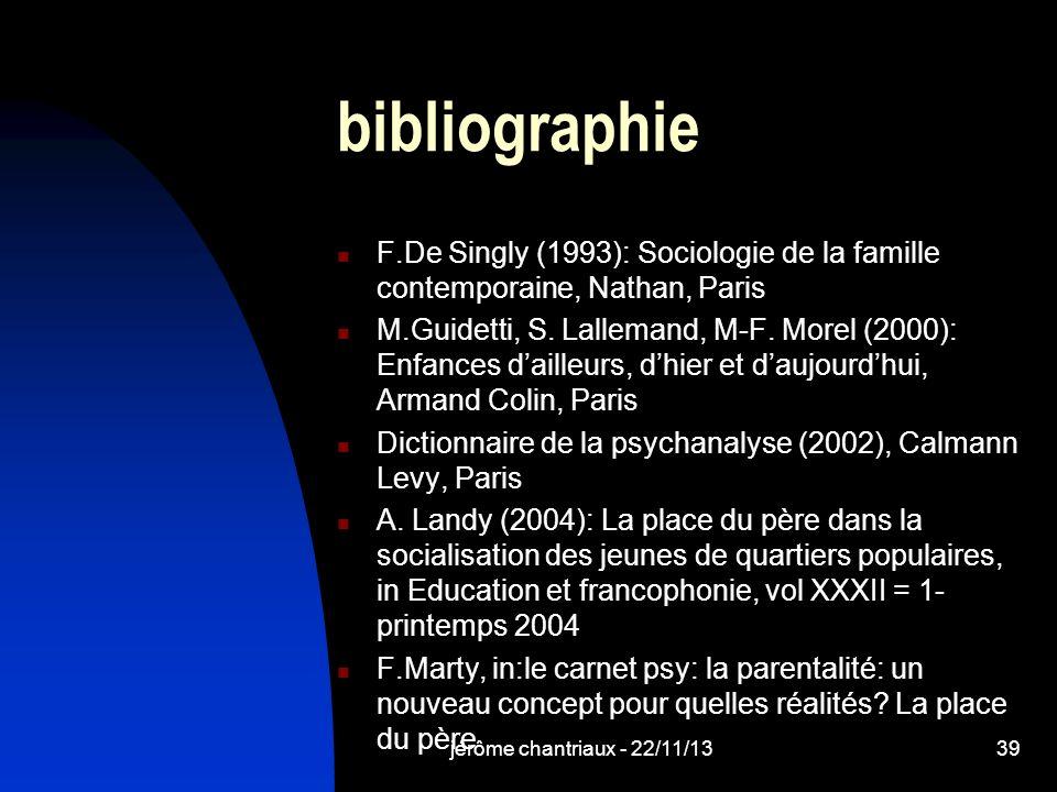 bibliographie F.De Singly (1993): Sociologie de la famille contemporaine, Nathan, Paris.