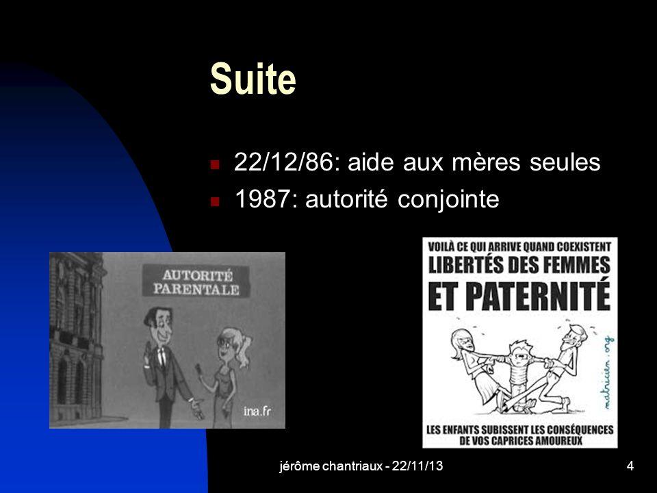 Suite 22/12/86: aide aux mères seules 1987: autorité conjointe