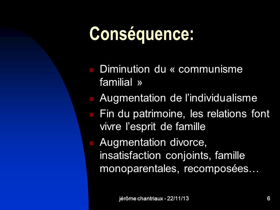 Conséquence: Diminution du « communisme familial »