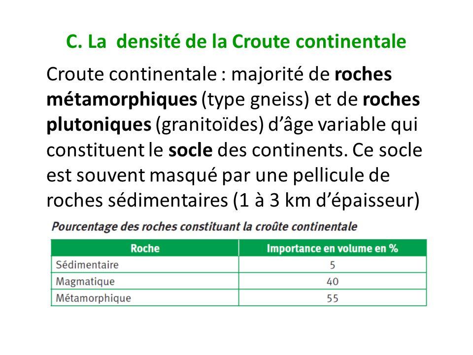 C. La densité de la Croute continentale