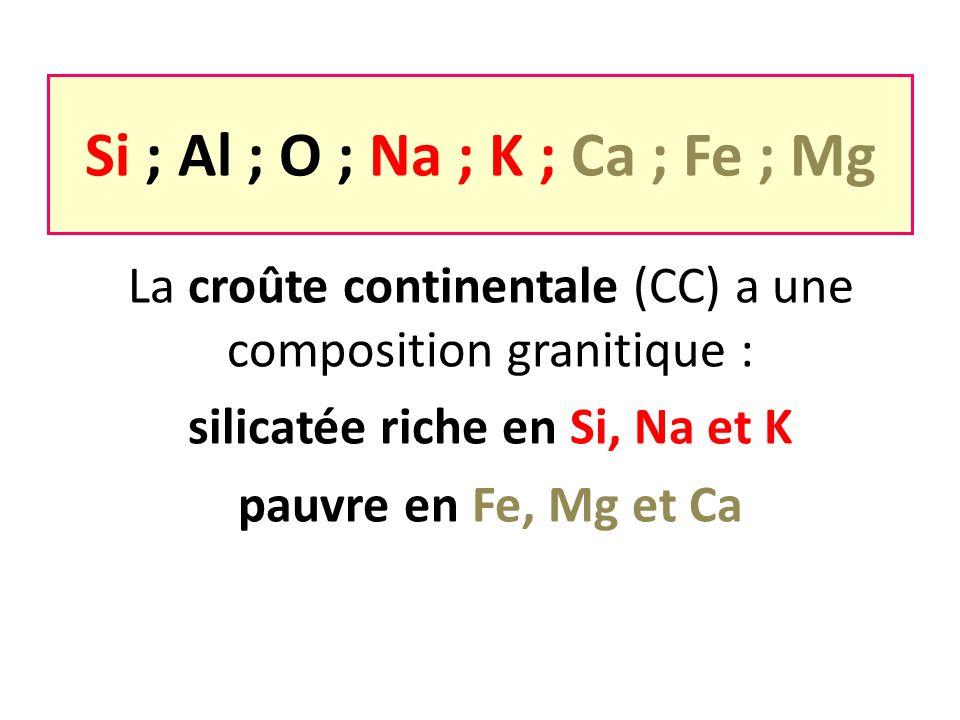Si ; Al ; O ; Na ; K ; Ca ; Fe ; Mg silicatée riche en Si, Na et K