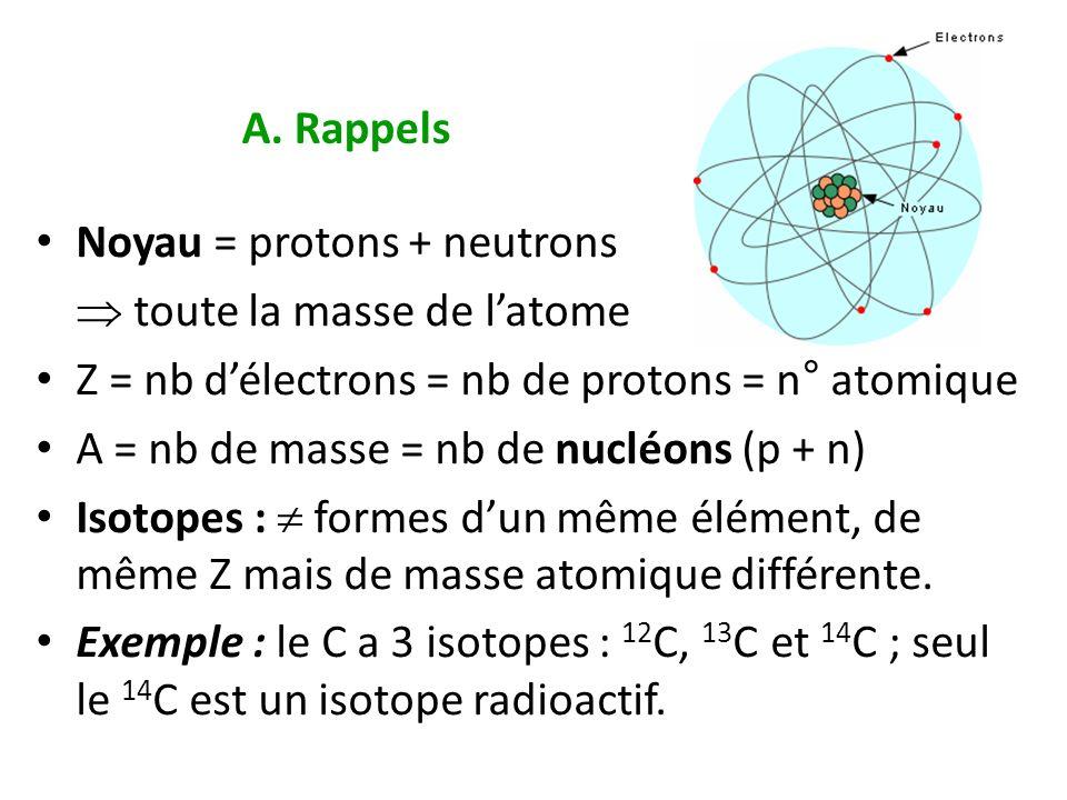 A. Rappels Noyau = protons + neutrons.  toute la masse de l'atome. Z = nb d'électrons = nb de protons = n° atomique.