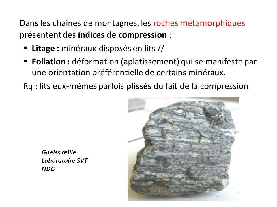 Dans les chaines de montagnes, les roches métamorphiques présentent des indices de compression :