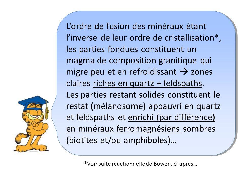 L'ordre de fusion des minéraux étant l'inverse de leur ordre de cristallisation*,