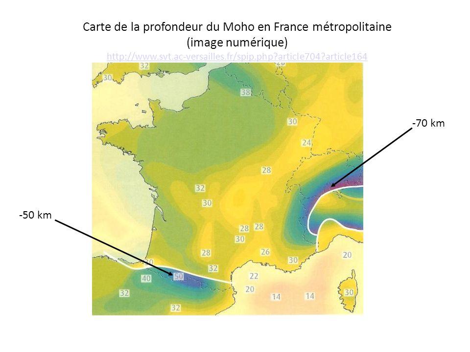 Carte de la profondeur du Moho en France métropolitaine (image numérique) http://www.svt.ac-versailles.fr/spip.php article704 article164