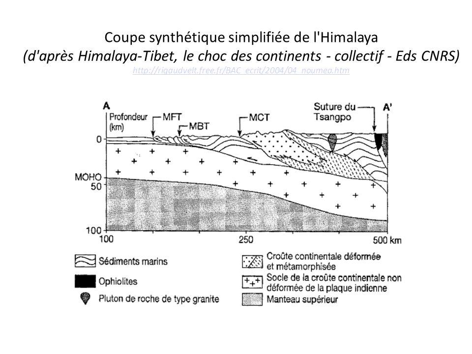 Coupe synthétique simplifiée de l Himalaya (d après Himalaya-Tibet, le choc des continents - collectif - Eds CNRS) http://rigaudvelt.free.fr/BAC_ecrit/2004/04_noumea.htm