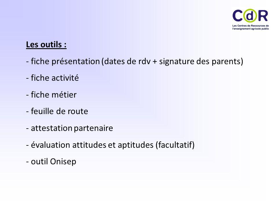 Les outils : - fiche présentation (dates de rdv + signature des parents) - fiche activité. - fiche métier.