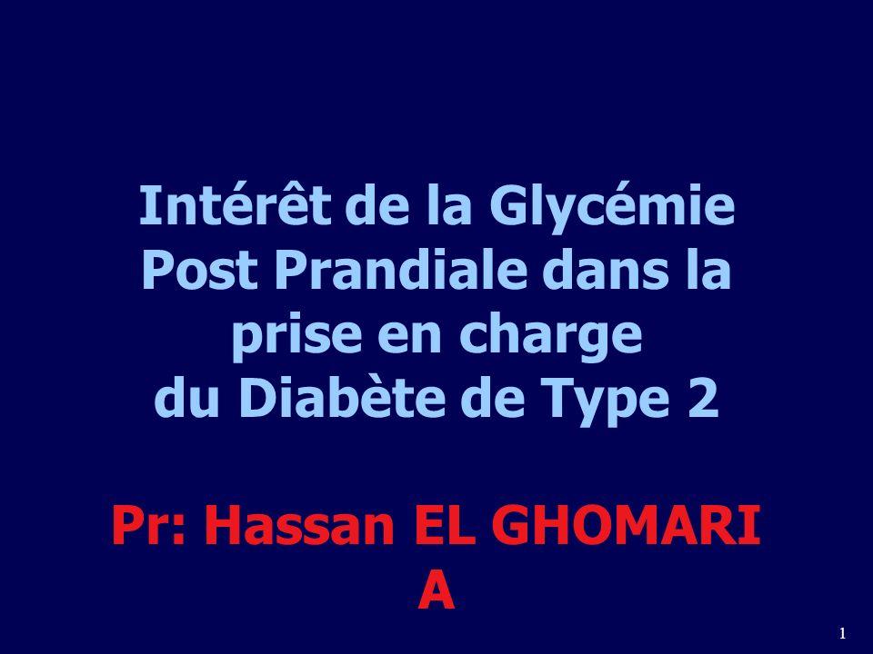 Intérêt de la Glycémie Post Prandiale dans la prise en charge du Diabète de Type 2 Pr: Hassan EL GHOMARI A
