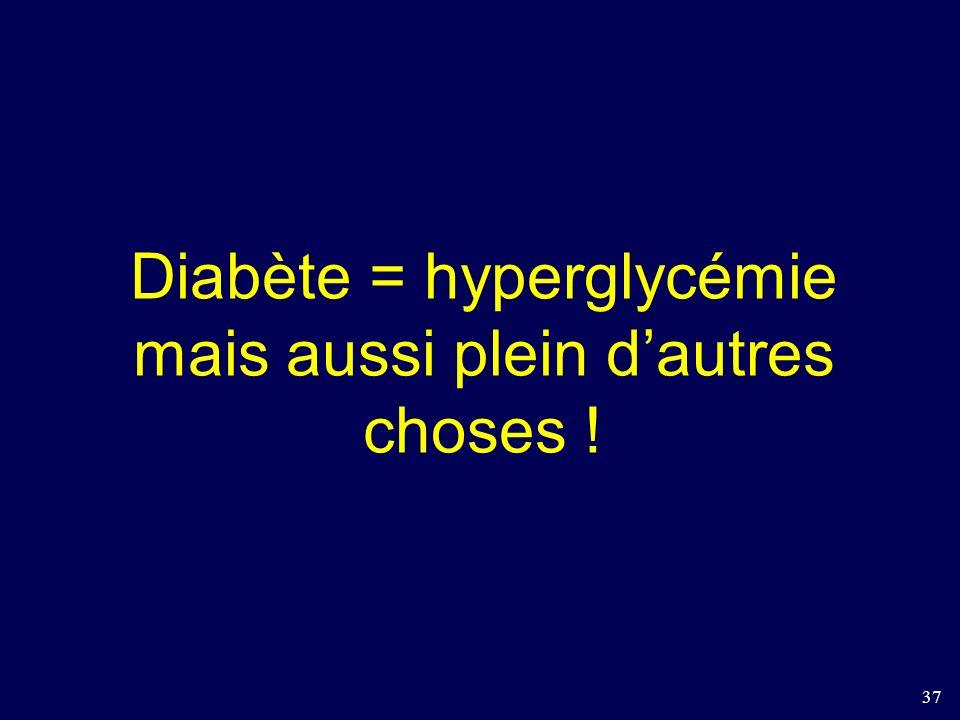 Diabète = hyperglycémie mais aussi plein d'autres choses !
