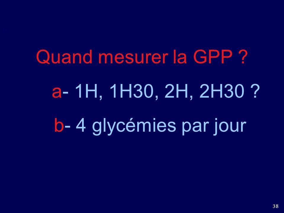 Quand mesurer la GPP a- 1H, 1H30, 2H, 2H30 b- 4 glycémies par jour