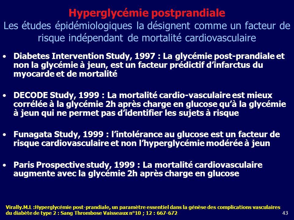 Hyperglycémie postprandiale Les études épidémiologiques la désignent comme un facteur de risque indépendant de mortalité cardiovasculaire
