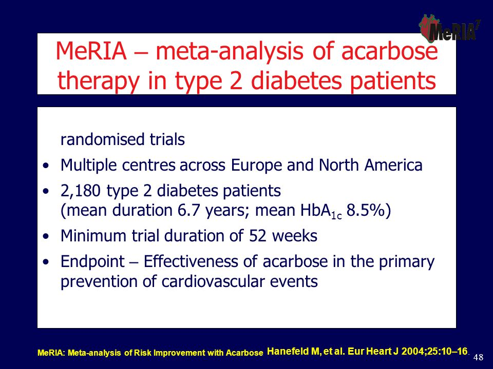 MeRIA – meta-analysis of acarbose therapy in type 2 diabetes patients