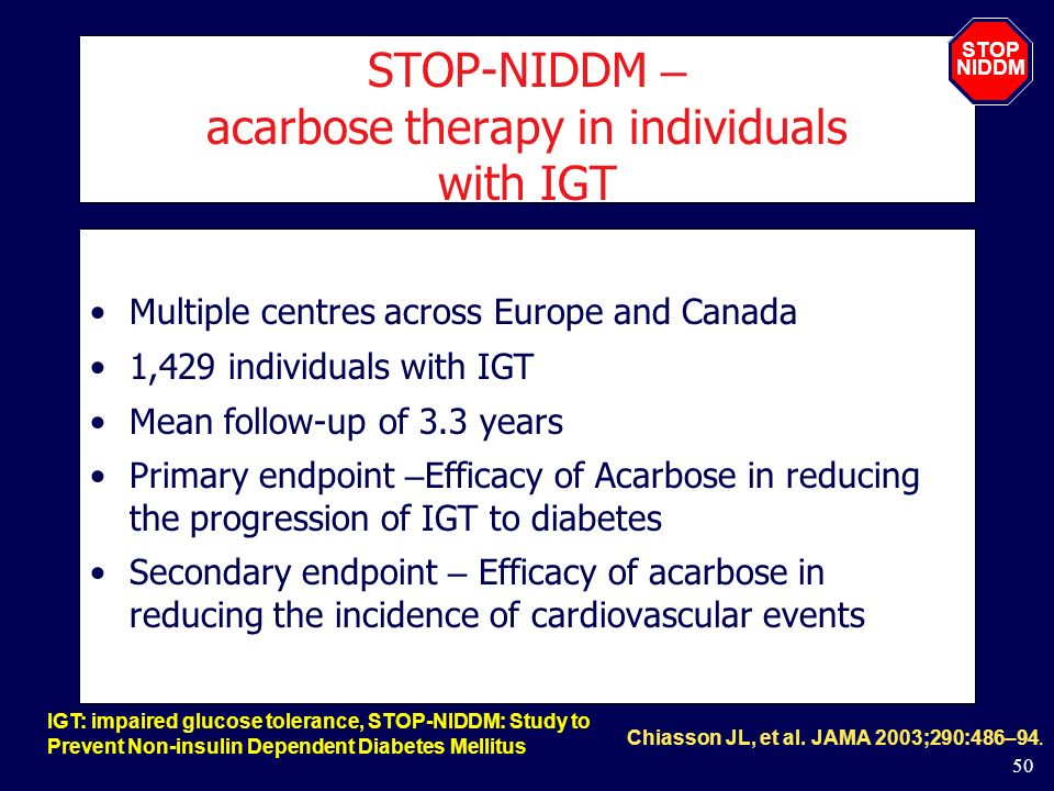 STOP-NIDDM – acarbose therapy in individuals with IGT