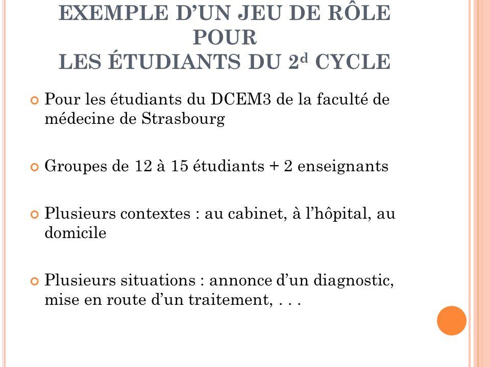 EXEMPLE D'UN JEU DE RÔLE POUR LES ÉTUDIANTS DU 2d CYCLE
