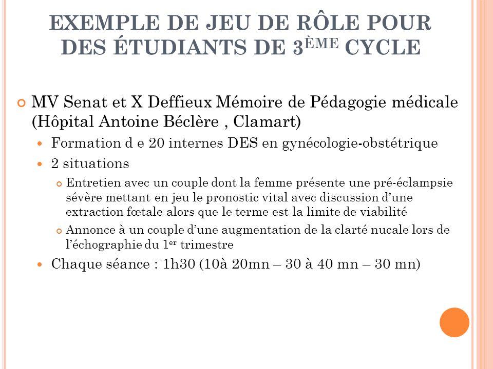 EXEMPLE DE JEU DE RÔLE POUR DES ÉTUDIANTS DE 3ÈME CYCLE