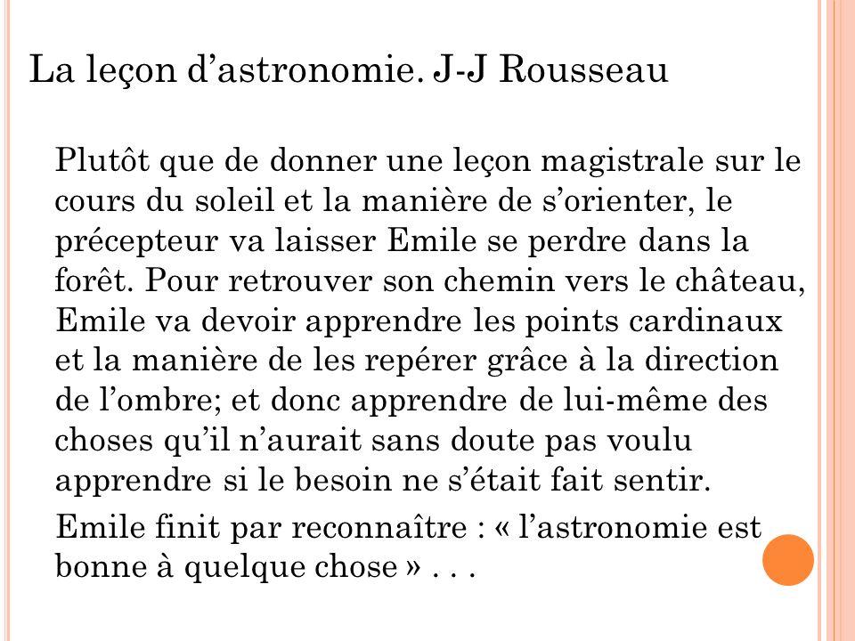 La leçon d'astronomie. J-J Rousseau