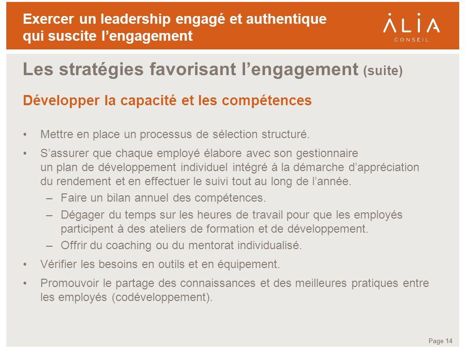 Les stratégies favorisant l'engagement (suite)