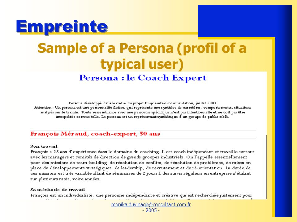 Sample of a Persona (profil of a typical user)