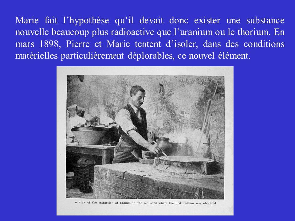 Marie fait l'hypothèse qu'il devait donc exister une substance nouvelle beaucoup plus radioactive que l'uranium ou le thorium.