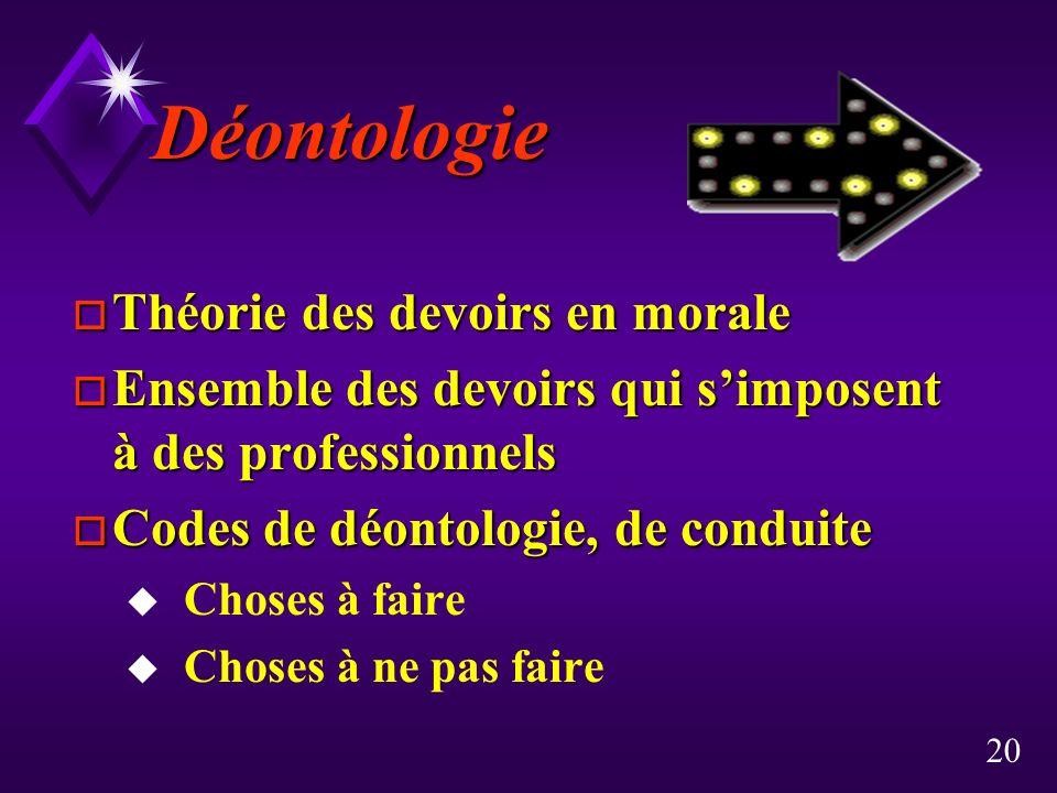 Déontologie Théorie des devoirs en morale