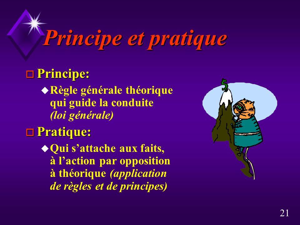 Principe et pratique Principe: Pratique:
