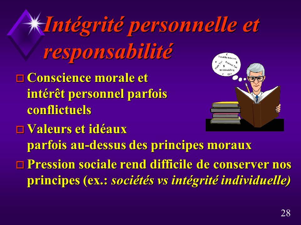 Intégrité personnelle et responsabilité