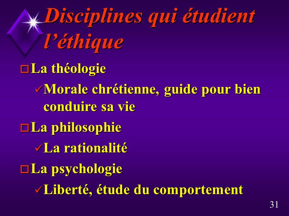 Disciplines qui étudient l'éthique