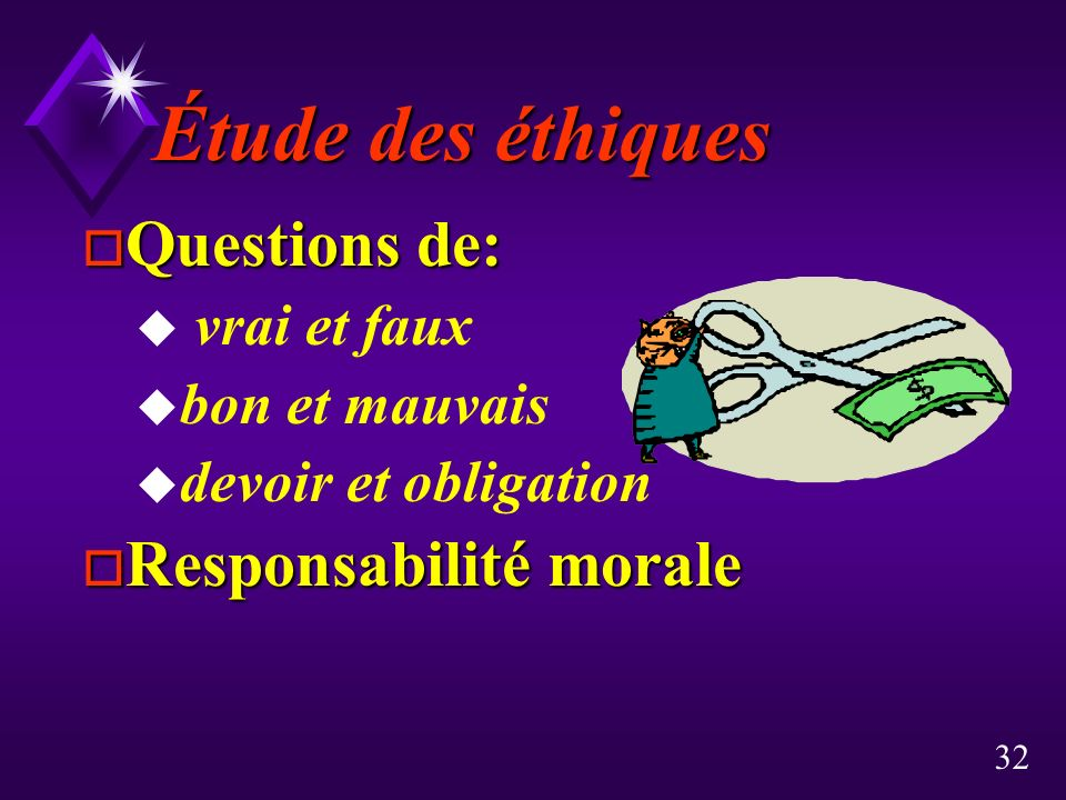 Étude des éthiques Questions de: Responsabilité morale vrai et faux
