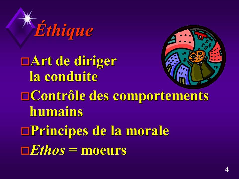 Éthique Art de diriger la conduite Contrôle des comportements humains