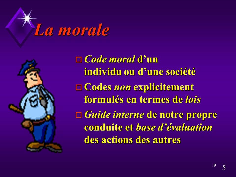La morale Code moral d'un individu ou d'une société