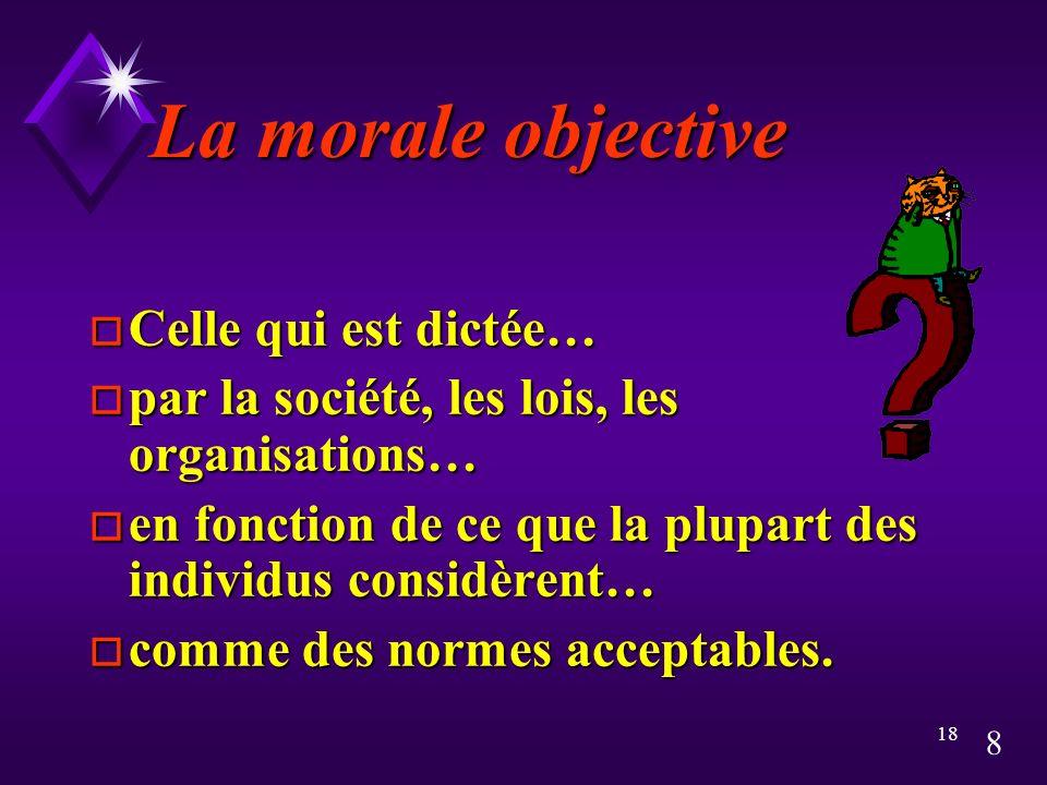 La morale objective Celle qui est dictée…