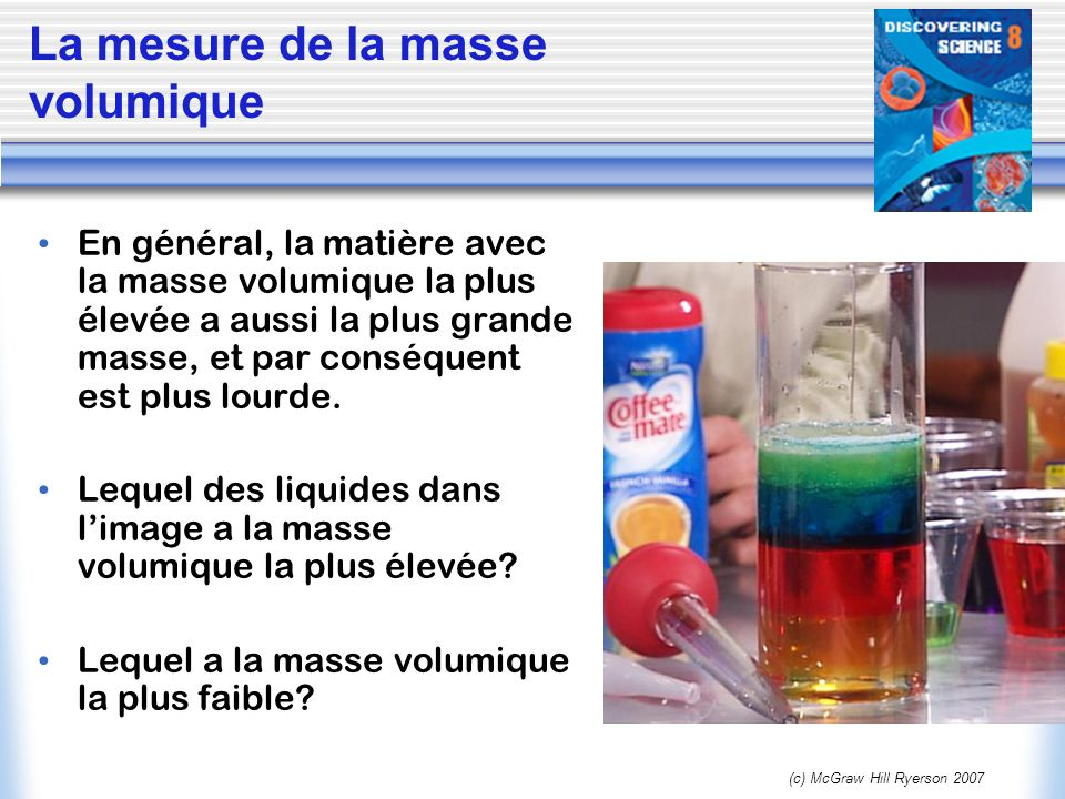 La mesure de la masse volumique