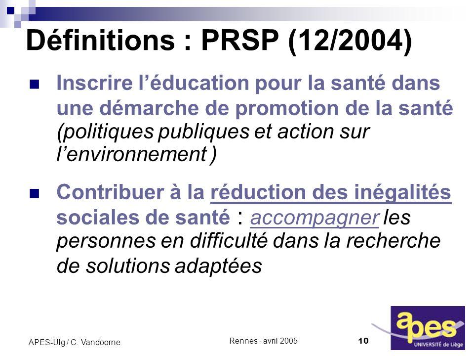 Définitions : PRSP (12/2004)