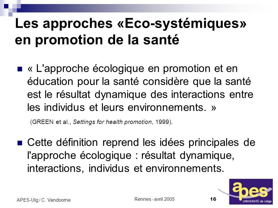 Les approches «Eco-systémiques» en promotion de la santé