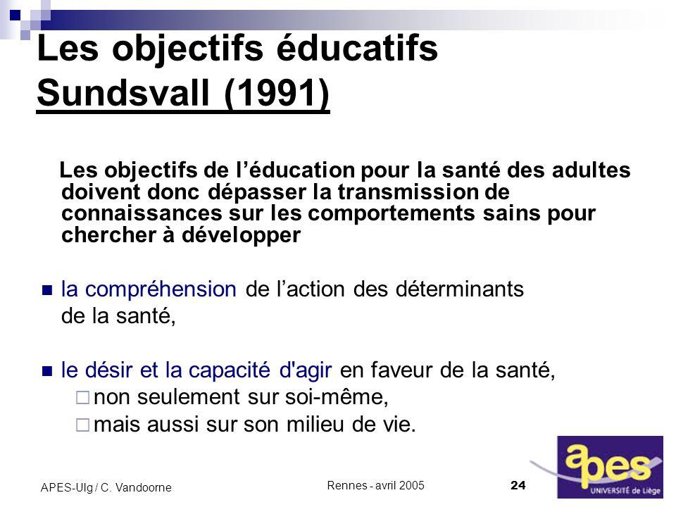 Les objectifs éducatifs Sundsvall (1991)