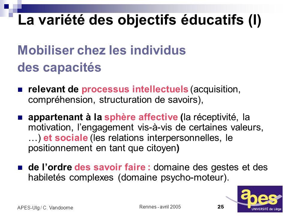 La variété des objectifs éducatifs (I)