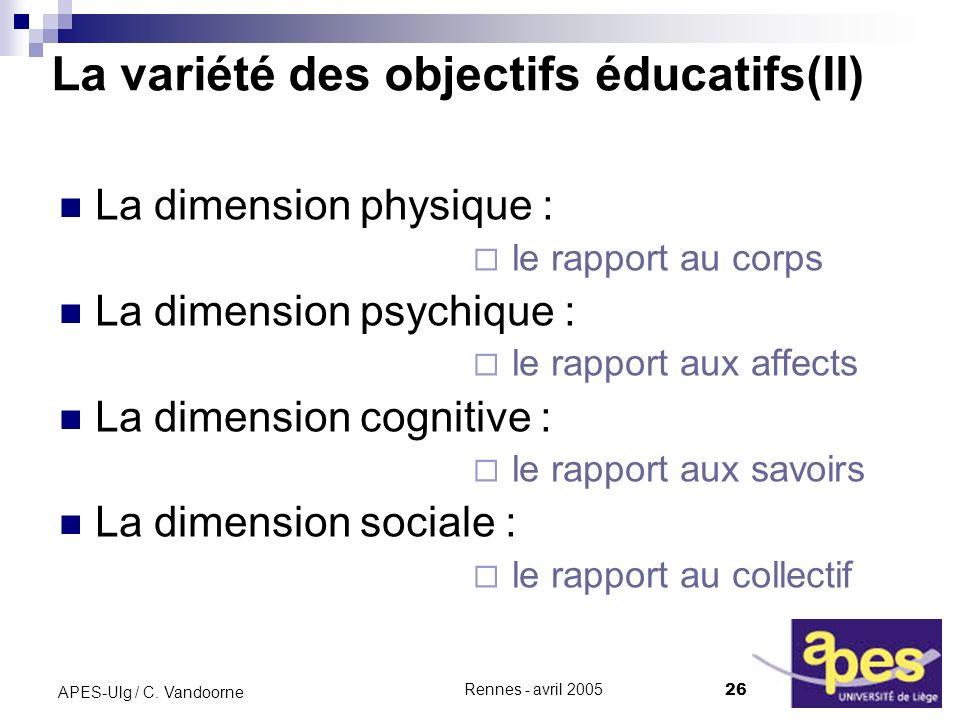 La variété des objectifs éducatifs(II)
