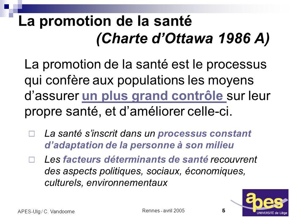 La promotion de la santé (Charte d'Ottawa 1986 A)