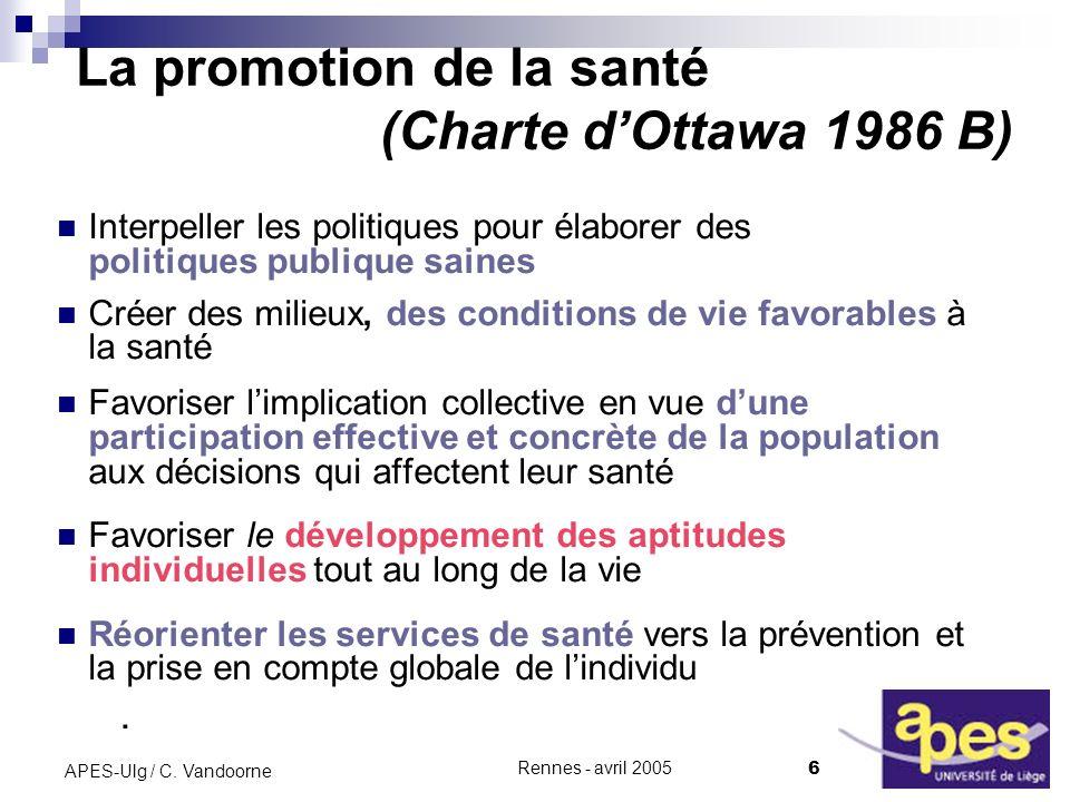 La promotion de la santé (Charte d'Ottawa 1986 B)