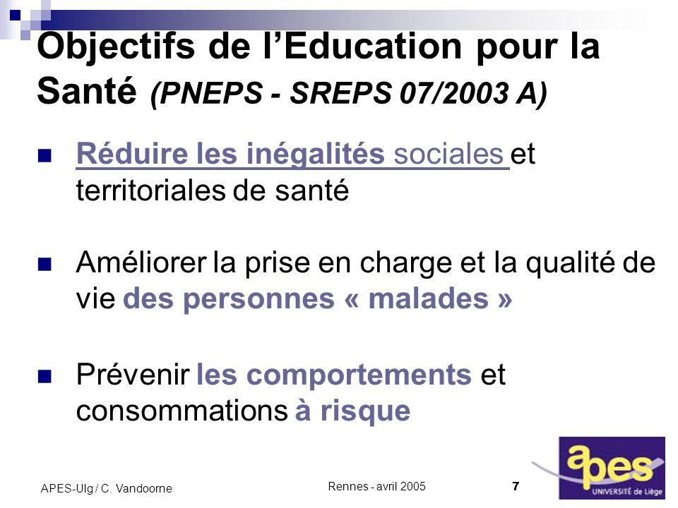 Objectifs de l'Education pour la Santé (PNEPS - SREPS 07/2003 A)