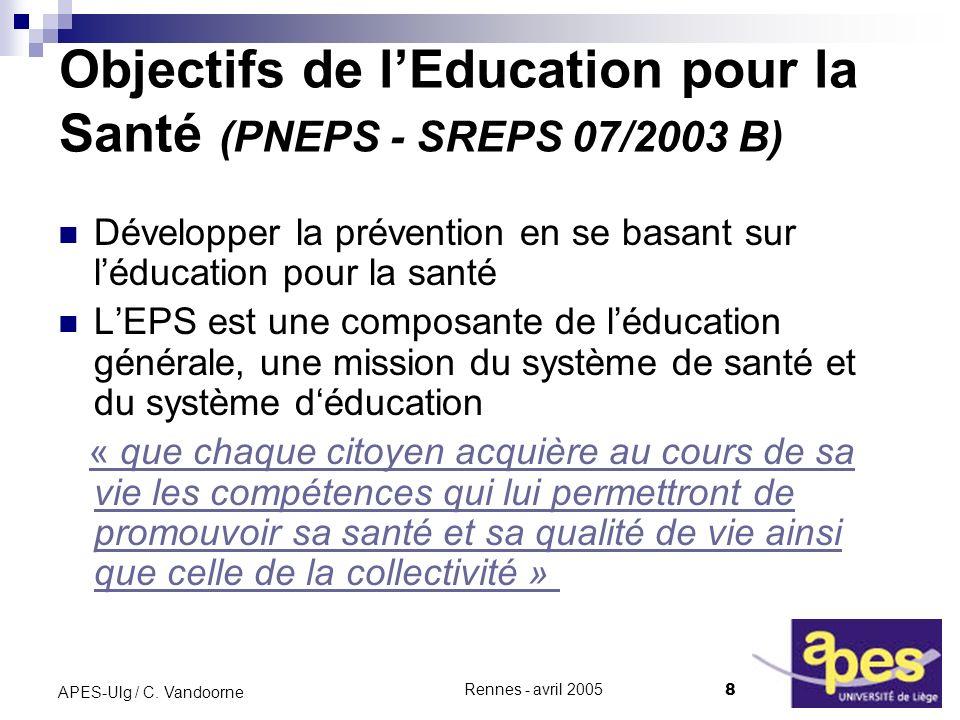 Objectifs de l'Education pour la Santé (PNEPS - SREPS 07/2003 B)