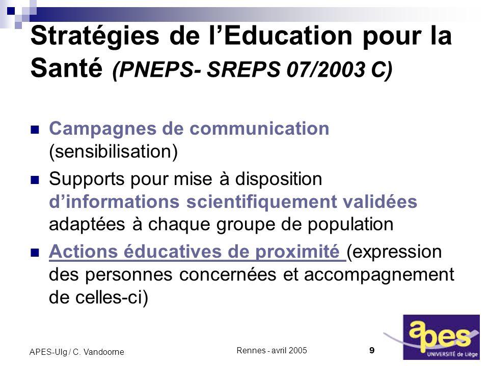 Stratégies de l'Education pour la Santé (PNEPS- SREPS 07/2003 C)