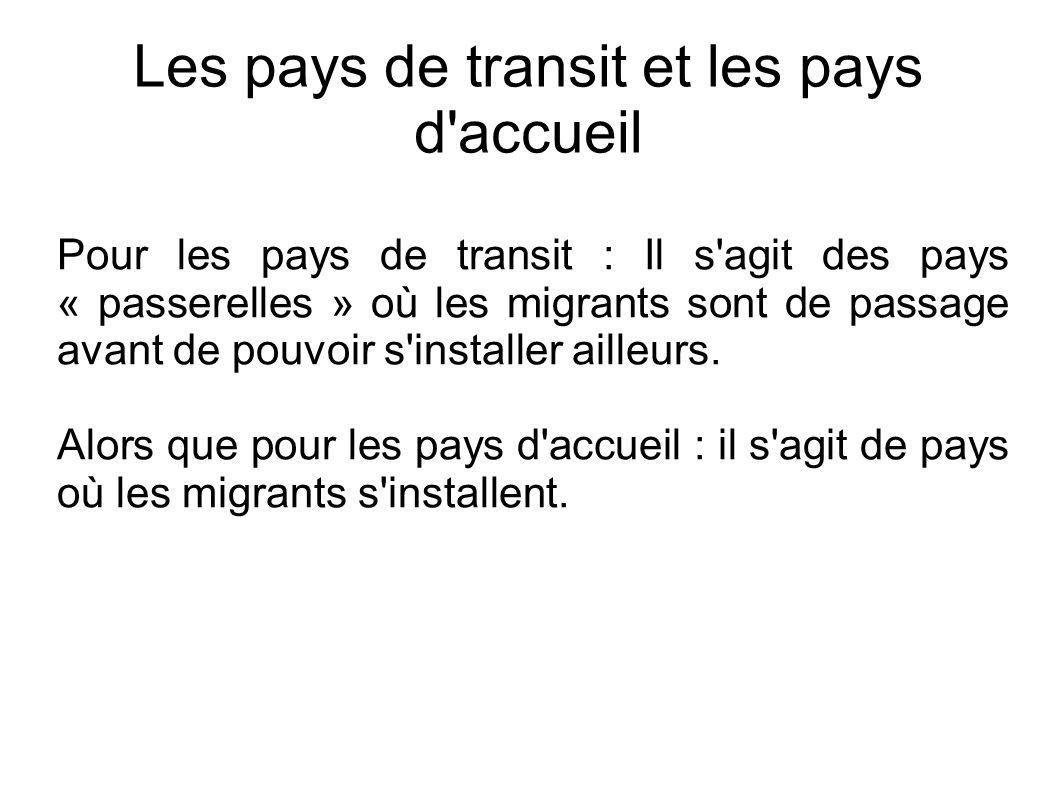 Les pays de transit et les pays d accueil